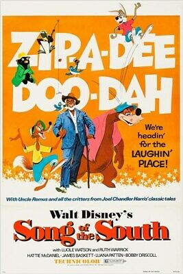 walt disney's SONG OF THE SOUTH vintage movie poster 1973 CARTOON 24X36 rare