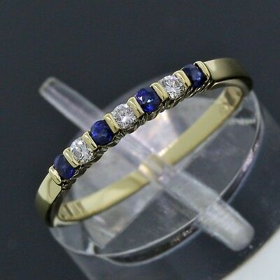 Tiffany & Co. 18K Yellow Gold Diamond Blue Sapphire 2mm Stack Band Ring Size 6