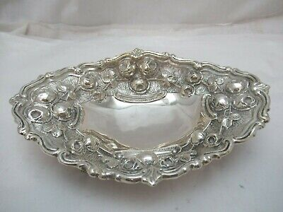 Sterling Silver 925 Fruit Candy Nut Basket Bowl Centerpiece Used 206 grams Roses