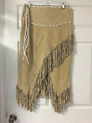 New HANDMADE TAN W/ WHITE Suede Leather Western Cowgirl Skirt Sz X-LARGE -Fringe
