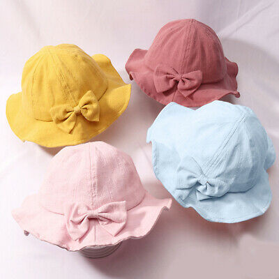 Multi-color Bowknot Baby Hat Bucket Summer Kids Baby Hat Bows Sun Hat LD