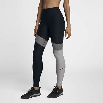 a2e0bc7c5a8216 New Nike Womens Colorblock Power Tights Black Gray Workout Pants Sz Small