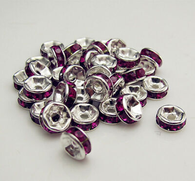 Jewelry 100PCS FREE Spacer Crystal Rondelle Beads Purple Making LOT Design 6mm
