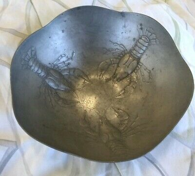 Antique Art Nouveau Kayserzinn Pewter Bowl Lobsters Vintage