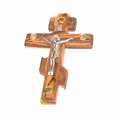 Small Olive wood Patriarchal three bar Russian Crucifix with Holy Land samples.
