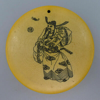 Natural Bone Round Pendants Crafts Hand Painting Ancient Poetry Decorate Amulet