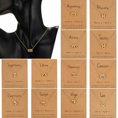 Fashion Women 12 Constellations Symbol Pendant Necklace Choker Gold Chain Gifts
