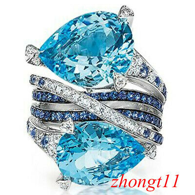 6.7ct Huge Stone Aquamarine 925 Silver Jewelry Wedding Engagement Ring Size 6-10
