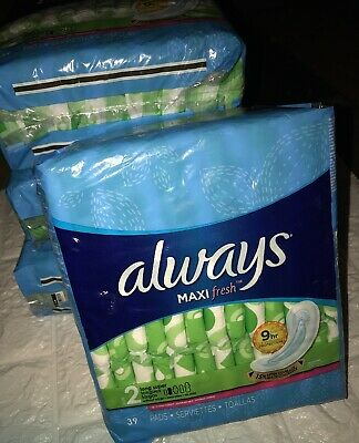LOT of 4 PKGS ALWAYS MAXI FRESH SIZE 2 LONG SUPER SANITARY NAPKIN PADS W/O WINGS
