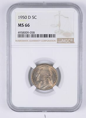 KEY DATE MS-66 1950-D Jefferson Nickel - Tough - Denver Minted - NGC Graded *971