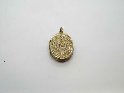 Large Antique Victorian Georgian 14KT Gold Filled Pendant Locket 28 x 23mm