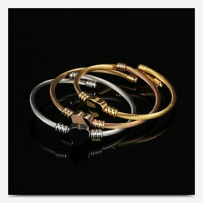 Charm Stainless Steel Opening Bracelet Women Heart Charm Bangle Jewelry Gifts