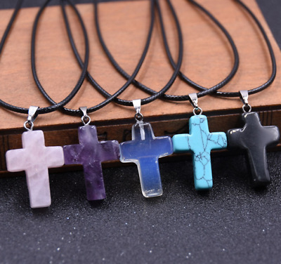 Cross Natural Stone Quartz Charms Pendant Necklace Women/Men Jewelry Choker