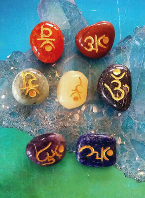 7 Chakra Sanskrit Engraved Crystal Energy Healing Set With Pouch, Reiki