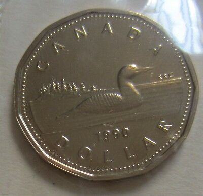 1990 Canada Proof-Like One Dollar Coin. Mint Cello UNC LOONIE. (ID = D274)