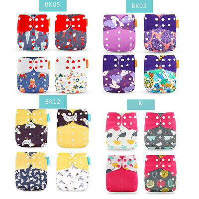 4PCS Baby Diapers +4 Insert Cloth Diapers Cover Reusable Washable Pocket Nappy