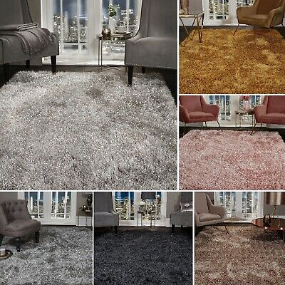 5.5cm Large SHAGGY Floor RUG Soft SPARKLE Shimmer Glitter Thick Soft Pile Rugs