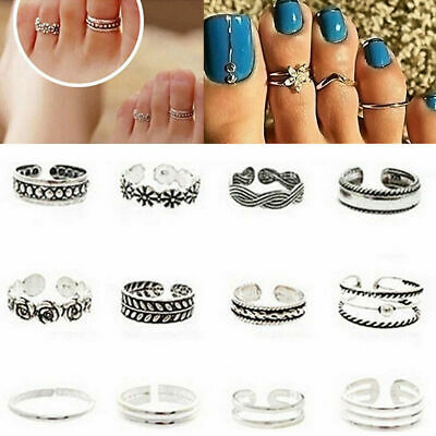 12PCs Celebrity Silver Daisy Toe Ring Women Punk Style Finger Foot Jewelry Set