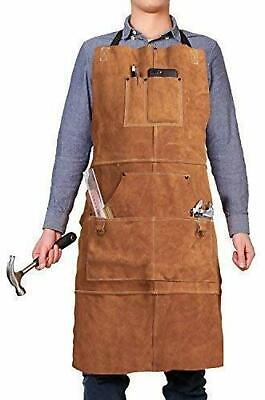 Heavy Duty Leather Welding Tools Shop Work Apron With 6 Pockets For Brown New