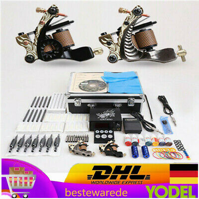 2 Tattoo Machine Tattoo Gun 50 Nadeln Tattoo Set w/Koffer Komplett Set Kit DHL