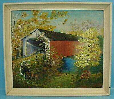 Faye Hayward Signed Covered Bridge Oil Canvas Painting Summertime Rural Stream