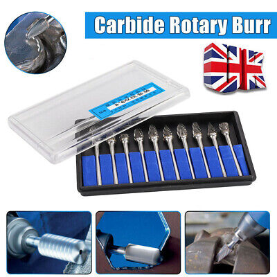 1/4'' Tungsten Carbide Rotary Burr Die Rotary Point Drill Bits Grinder Shank UK