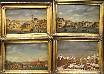 Set Of 4 17th 18th Century Dutch Town River Street Scene Landscapes Antique