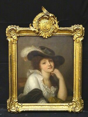 Large 18th Century French Portrait Of A Lady Wearing A Hat Jean-Baptiste GREUZE