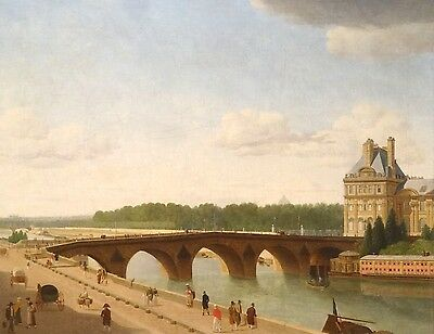 Large 18th Century French Paris River Seine Louvre Landscape View Painting