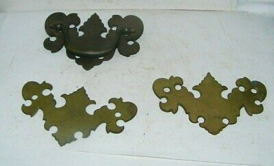 3-vintage brass drawer pulls fancy solid brass old hardware
