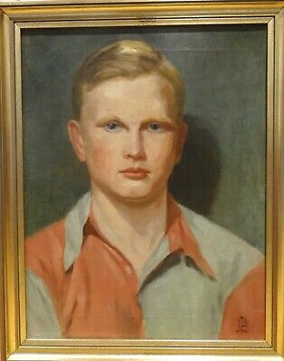 Early 20th Century English School Young Rugby Player Portrait Antique Painting