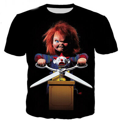 New Women Men T-Shirt 3D Print Movie Evil Child Big Scissor Short Sleeve Tee Top
