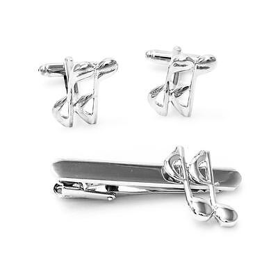 Music 8th Eighth Note Cufflinks and Tie Bar Clip Wedding Gift Box Free Ship