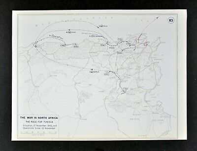 West Point WWII Map Race for Tunisia North Africa War Tunis Algiers Middle East