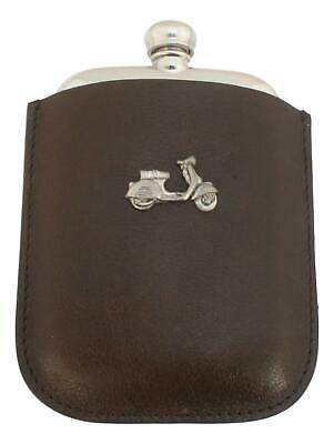 Vespa Scooter Pewter 4oz Kidney Hip Flask Leather In Pouch FREE ENGRAVING 383