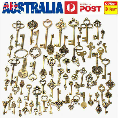 AU 140Pcs Bronze Keys Vintage Antique Old Look Skeleton Heart Bow Pendant Set