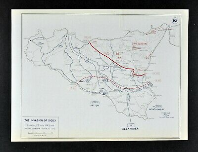 West Point WWII Map North Africa Invasion of Sicily Italy Allied Advance Patton