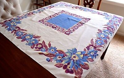 VINTAGE 1940s FLORAL COTTON KITCHEN TABLECLOTH BLUE PURPLE 48X48 INCH