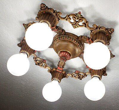 20's Antique Vintage ART DECO Flush Ceiling Light CHANDELIER~ Pair available