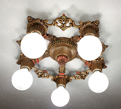 1920's Antique Vintage Riddle Ceiling Light Chandelier 2 Available