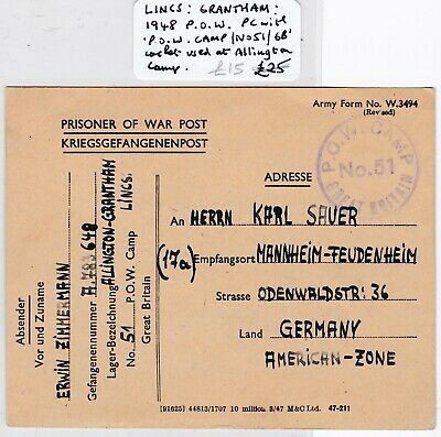# 1948 GB POW CAMP No 51 CACHET ALLINGTON GRANTHAM LINCOLNSHIRE CARD TO GERMANY