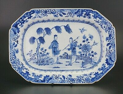 LARGE Antique Chinese Porcelain Blue and White Plate Dish Charger QIANLONG 18thC