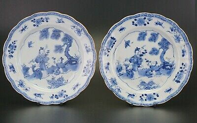 PAIR Antique Chinese Blue & White Porcelain Plate 'Magu' Deer Fluted Rim 18th C