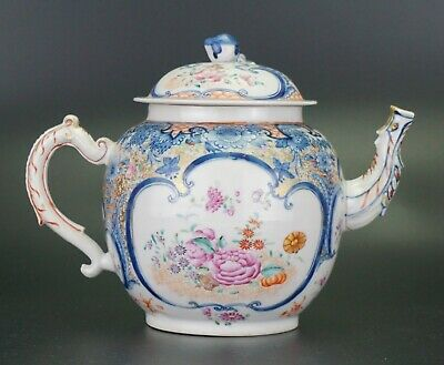 Very LARGE Chinese Porcelain Blue and White Famille Rose Iron Red Teapot 18 C