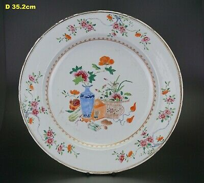 HUGE! Antique Chinese Famille Rose Treasure Flower Plate Charger QIANLONG 18th C