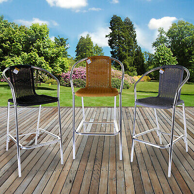 Aluminium Lightweight Chrome & Wicker Bar Stools Outdoor Garden Cafe Furniture
