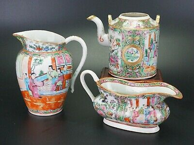 Group Antique Chinese Canton Famille Rose Porcelain Teapot Water Gravy Jug 19thC