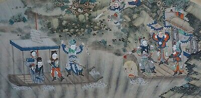 SUPERB! Framed Antique Chinese Water Colour Painting Fan Shape 18th/19th C QING