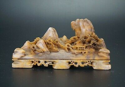 Antique Chinese Soapstone Carving Mountain Brush Rest