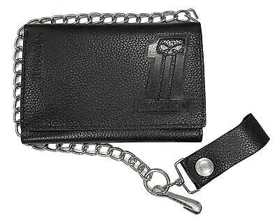 Harley-Davidson Men's Embossed #1 Trucker Tri-Fold Plus Wallet XML3888-BLACK